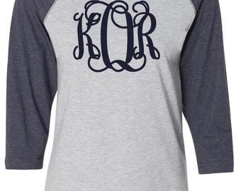 Personalized Ladies Vintage  3/4 Sleeve Baseball T-Shirt with Regular or Glitter Monogram