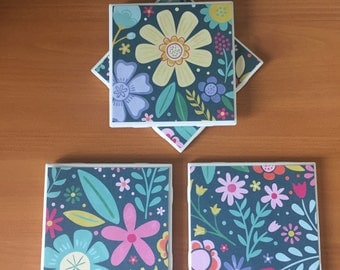Spring Flower Coasters//Drink Coasters//Tile Coasters//Set of 4