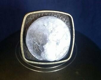 LARGE Selenite Healing Ring // SELENITE Jewelry // Raw Crystal // White Selenite // Full Moon Ring // Meditation Jewelry // Unisex Ring