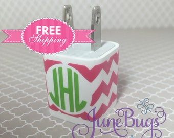 iPhone Charger Wrap Chevron - Chevron iPhone Charger Decal - iPhone Charger Decal - Monogram iPhone Charger Decal - Personalized Wrap