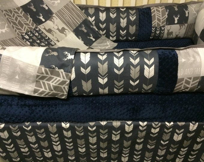 Deer and Arrows- Navy and Gray Baby Bedding - Baby Boy Bedding
