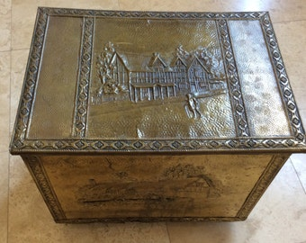 Vintage Brass trunk embossed chest box on casters wheeled brass repousse wood kindling coal fireside storage box chest trunk trunk on wheels