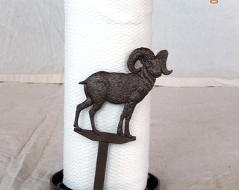 Handcrafted Wrought Iron Paper Towel Holder Stand with Your Choice of Animal Stampings - Clearance Discontinued Item