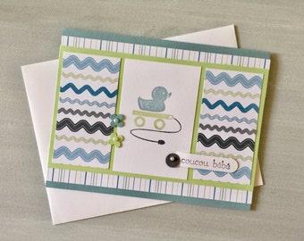 French (français) Baby Boy Card . For Expecting Parents . Rubber Duckie Blue Card . Un canard en bleu pour nouveau bébé garçon