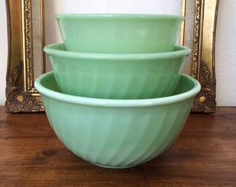 Vintage Fire King Jadeite Swirl Bowls Set Mint Green Fire King Mixsing Bowls 50's Oven Ware Jadeite Anchor Hocking