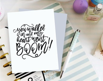 You walked in and my heart went boom, Printable Valentines Card, Valentines Day Card, Valentines Card for Him, Valentine Card Ideas,Digital