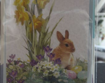 Spring Time With Thanks Card with a Rabbit and Spring Flowers