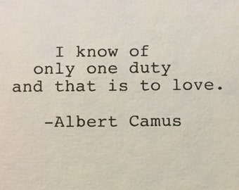 Albert Camus Quote Hand Typed Typewriter Quote - love quote
