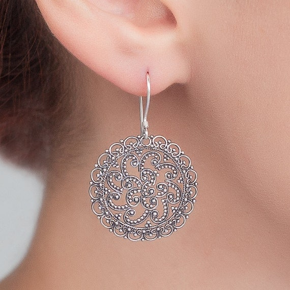 Sterling silver Filigree earrings. Unique bohemian, hand made, traditional filigree earrings.