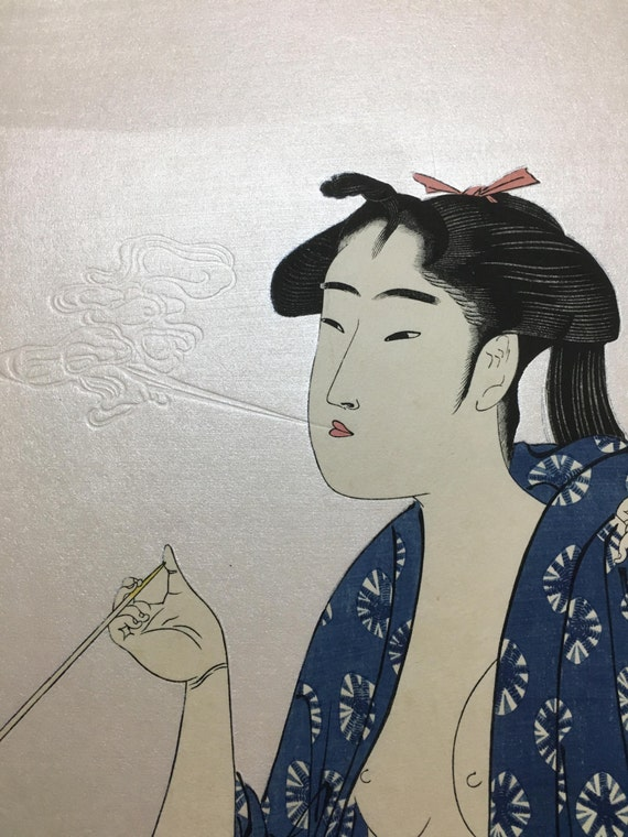 "Japanese Ukiyo-e Woodblock print, Utamaro, ""Beauty Smoking"""