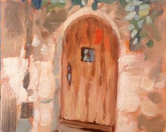 Door II – St. Guillem de Desert, original en plein air oil Painting by Canadian Artist Kindrie Grove