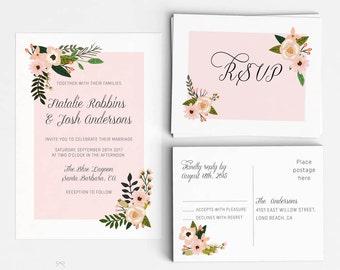 Floral Wedding Invitation Suite, Wedding Invitation Printable, Invitation Set, Wedding Invitation Rustic, PDF Letter or A4 (Item code: P963)