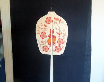 "Japanese Linen NOREN Door Fabric Curtain Drapery 72"" x 32"" Dark Navy Blue Red Vase Flowers Bunny Top Rod Pocket Home Decor Gift"