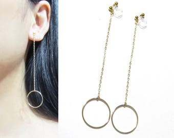 1/20 12KT Gold Filled Dangle Clip-on Earrings |25A| Drop Circle Halo Chain Long Clipon Earrings Simple Threader Clip Earrings Clip-ons
