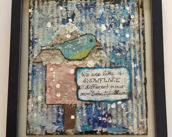Mixed Media Art Framed, Mixed Media Art, wall art, gift for her, home decor, painting, handmade, one of a kind, art, Snow Bird Art