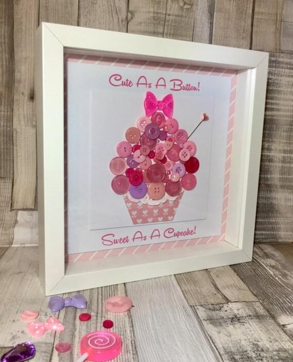 Handmade Box Framed Fun Button Cupcake Artwork