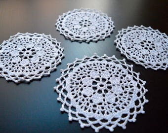 Crochet Doily Cup Coasters (Set of 4)
