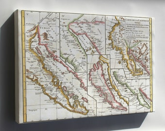 Canvas 24x36; 1772 Vaugondy - Diderot Map Of California In Five States, California As Island P2