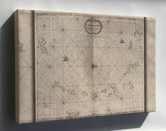 Canvas 24x36; Map Chart Of The Caribbean Islands 1700