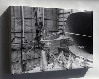Canvas 24x36; Sikorsky Yr-4Bhns-1 Helicopter In Wind Tunnel Langley 1944