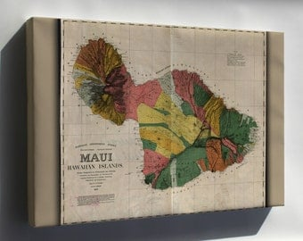 Canvas 24x36; Map Of Maui Hawaii 1885