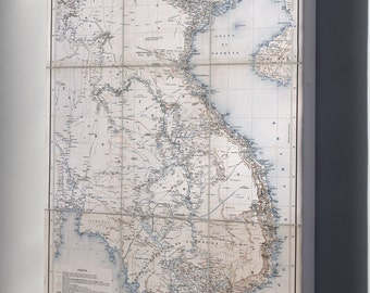 Canvas 16x24; Map Of Vietnam Laos Cambodia In French 1881