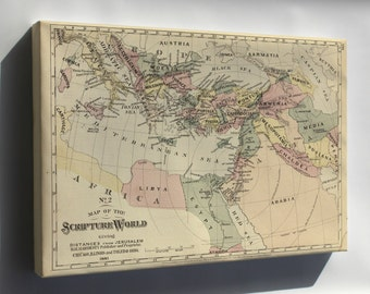 Canvas 16x24; Bible Map Israel Jerusalem Middle East 1881