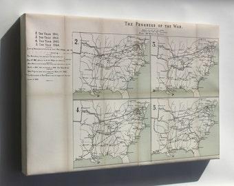 Canvas 16x24; Map Of Progress Of Civil War, 1861-1864