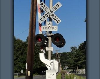 16x24 Poster; Grade Crossing Railroad Train Signal Sign
