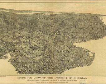 16x24 Poster; Birdseye View Map Of Brooklyn New York City 1897