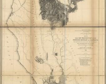 16x24 Poster; Map Of California North Of San Francisco Bay  1855