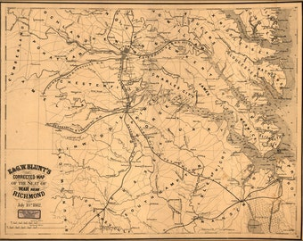 16x24 Poster; Map Of Seat Of War Near Richmond Virginia 1862