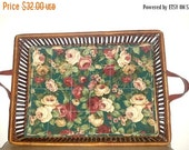 Woven Serving Tray with Handles,Bamboo Serving Tray,Floral Cloth Lined Tray,French Country,Rattan Tray,Woven Tray,Cottage Chic,Serving Tray