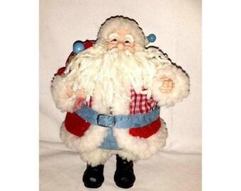 Vintage Santa Claus Figurine,Chenille Beard,Santa Figurine,Christmas Presents,Holiday,Vintage Christmas,Kitsch,Santas Bag of Toys,Holidays