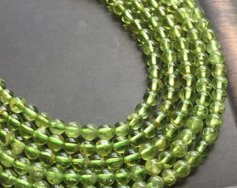 "4mm Peridot Round Smooth Spring Green Gemstone Beads 16"" Strand"