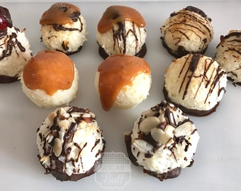One Dozen Decadent Coconut Macaroons- Assorted Flavors- Chocolate Dipped-Gluten free