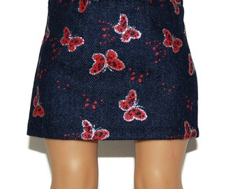 "Glitter Butterfly Denim Skirt - Doll Clothes fits 18"" American Girl Dolls"