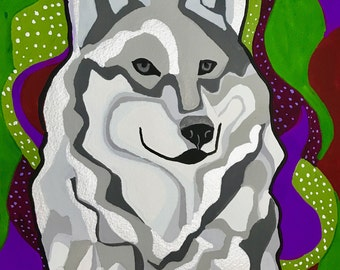 White Wolf Gouache Painting, Wolf Painting, Wolf Wall Art, Wolf Gouache Painting, Wolf Art