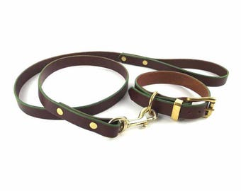 Brown leather Dog Collar and Leash set with brass hardware