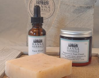 Oatmeal Spa Gift Set - Face Elixir - Oatmeal Soap - Peppermint foot cream - cell repair - gentle cleansing