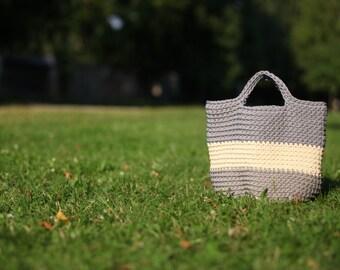 Crochet bag, Gray crochet bag, Crochet rope handbag, Crochet shopping bag, Crochet market bag, Gray handbag, Beach bag, Grocery bag