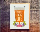 Cheers to a Hoppy Life - Pint of Beer - Wedding Card - pun wedding card - pun card - beer card - beer wedding card - happy life