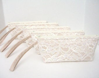 Set of 5 - Ivory Lace Clutch - Champagne Makeup Bag - Wedding Clutch - Champagne Clutch - Bridesmaid Wristlet Clutch - Sequins Clutch