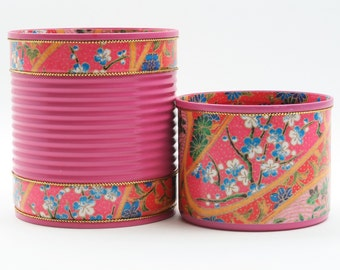 Recycled Tin Cans in Pink - Makeup Brush Holder/ Toothbrush Holder/ Pen Holder/ Desk Organizer