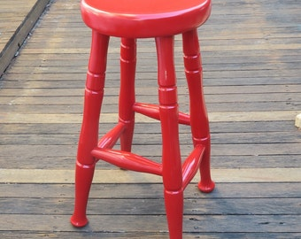Little Red Stool - Handpainted Wooden Stool with Gloss Varnish - For Pick Up Only