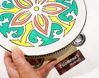 Music room decor, Mandala tambourine, Wedding Present, Yoga gift, Bohemian hippie, Mandala Art, Yoga studio decor, Drum circle, Tambourine