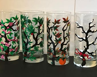 Four Seasons Glasses,Painted Drinking Glasses,Spring, Summer,Autumn,Winter, Seasonal glasses