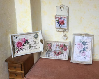 Romantic wooden accessories decorated with decoupage, shabby chic, 1/12 scale, OOAK