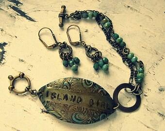 Island Girl Bracelet, Island Jewelry, Ocean Bracelet, Ocean Jewelry, Ocean Earrings, Sea Themed Jewelry, Boho Sea Themed Bracelet