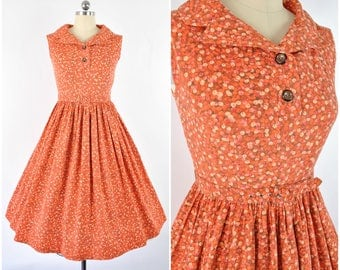 1950's fruit harvest day dress sz S (B 34  W 26  ) orange novelty pattern/ Vintage 1950s dress/ fit and flare, button up, sleeveless, cotton